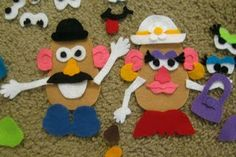 Items needed: Mr/Mrs. Potato Head Felt Cutouts, body parts of Mr./Mrs. Potato Head, hats, shoes and glue. Can be used during therapy to motivate the child how the clinician chooses. Ex: If child is having good behavior or is working hard on proudcition of words, child gets to glue a piece to the potato head.