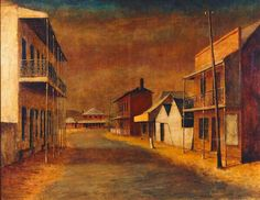 Sofala by Russel Drysdale Australian Painting, Australian Artists, Most Famous Paintings, Famous Artists, Social Realism, Social Art, Aboriginal Art, Landscape Art, Urban Landscape