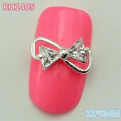 QINF 10PCS RH1405 Shinning Zircon Bow Tie 3D Alloy nail art DIY Butterfly Nail beauty Nail Decoration nail sticker ** You can find out more details at the link of the image.