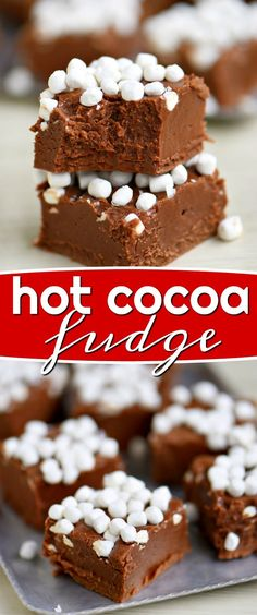 easy Hot Cocoa Fudge is exceptionally creamy and decadent! The perfect holiday treat! We love to add this festive fudge to our holiday cookie trays but have no problem whipping up a batch on a random cold winter's day. So delicious! // Mom On Timeout easy Best Dessert Recipes, Candy Recipes, Fun Desserts, Cookie Recipes, Easy Holiday Desserts, Winter Desserts, Christmas Fudge, Christmas Snacks, Christmas Recipes