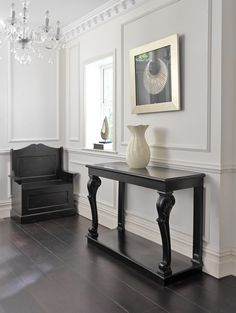Black Scroll Console Table