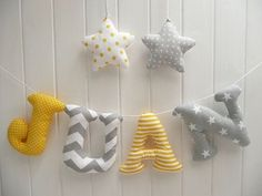 CUSTOMIZED Stuffed letters words and names Custom by letterlyy Fabric Letters, Diy Letters, Felt Crafts, Fabric Crafts, Diy And Crafts, Baby Banners, Baby Mobile, Baby Sewing Projects, Felt Decorations