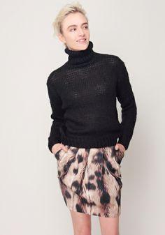 Alpaca Knit Turtleneck and Leopard Print Cocoon Skirt