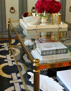 mint love social club: {gold + glass coffee table}