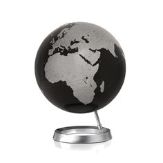 The Atmosphere Reflective Sphere Black Globe is a modern yet classic representation of Planet Earth. The oceans are depicted in jet black and the continents are outlined in silver grey. The sphere is mounted on a stainless steel stand at a diagonal tilt depicting the position of the Earth in the solar system. Descriptions of capital cities and various landmarks make this a useful reference tool as well as an addition to interior decor.
