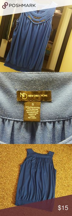 New Directions blue tank top. This has some metal detail at neckline. It is soft and has an elastic wasitband. New Directions  Tops Tank Tops
