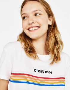 """""""C'est moi"""" ecologically grown cotton T-shirt - Bershka #fashion #product #tshirt #tee #camiseta #printed #slogan #text #print #quote #realthings #spring #summer #ss #cool #trend #trendy #girl #girly #outfit #inspiration #ideas #tee #camiseta #estampada #texto"""