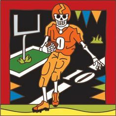 6x6 Tile Day of the Dead Football by Hand-N-Hand Designs. $18.95. Individually screen printed on authentic Italian Red Quarry Tile. Each tile is hand glazed by a skilled artist in the USA. Unique hand drawn design exclusive to Hand-N-Hand Designs. Fired at over 1800 degrees to create a durable and lasting piece of art. This 6x6 decorative art tile is hand painted and hard fired at over 1800 degrees making it ready for years of use indoors or outdoors. Use this tile as a tr...