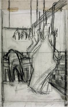 Drawing for 'Butcher's Shop I' 1955 Peter Coker 1926–2004 http://www.tate.org.uk/art/artworks/coker-drawing-for-butchers-shop-i-t05027/text-catalogue-entry