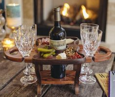 FREE SHIPPING This gorgeous wood wine carrier holds a bottle of wine and four wine glasses. It has a removable walnut food tray for serving cheese