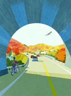 Tunnel by tatsuro kiuchi street art, illustration essay, music illustration, Street Art, Bg Design, Art Graphique, Illustrations And Posters, Art Inspo, Illustrators, Cool Art, Concept Art, Illustration Art