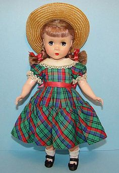 14 inch- unmarked Maggie - Madame Alexander Polly Pigtails Doll C1950 Plaid Dress