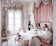 """""""Room service - let them eat cake""""...at the Ritz, Paris...which has undergone a four year, $200 million renovation under the guidance of Thierry Despont and the 800-strong team he assembled to bring the hotel back to its former glory. Photo by Mikael Jansson for #vogue ✨#repost @adovalondon"""