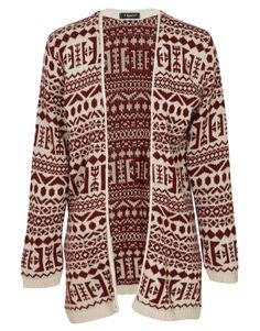 Tribal Print Open Front Knitted Cardigan in Beige and Burgundy £ 12.95 #chiarafashion