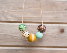 Hand Painted Wooden Bead Necklace in Evening Breeze by annajoyce