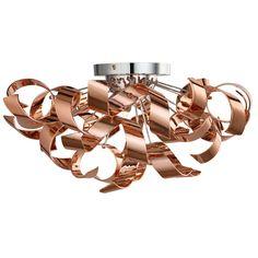 Lyndsay 3 Light Semi Flush Ceiling Light Copper