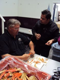 Chef Vicky Ratnani and Derrick Kennedy of #Louisbourg #Seafoods Limited shucking Mira Bay's #SnowCrab by hand