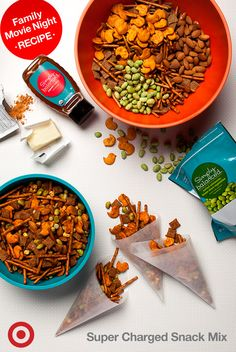 Power up for a supercharged Disney's Big Hero 6 movie night—this easy and healthy recipe is something both you and the kids will enjoy. First toss a cup of freeze-dried peas, corn and edamame, raw almonds and cheese snacks with two cups of pretzels and Chex mix in a bowl. Heat ¼ cup of butter and 2 tablespoons of honey in a saucepan and pour over mix with 1 packet of taco seasons. Mix well and cook 5-7 minutes at 325 degrees on a baking sheet, stirring every few minutes to bake evenly.