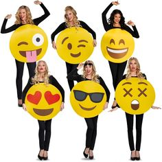 This funny emoji costume includes a foam body overlay with a printed emoji face. Emoji Costume. This emoji costume comes in adult size One Size. The shirt and pants are not included with the emoji costume.