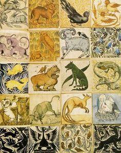 Pre Raphaelite Art: William de Morgan - Group of tile designs William Morris, Tile Art, Mosaic Tiles, Tiling, Art Nouveau, Antique Tiles, Pre Raphaelite, Handmade Tiles, Arts And Crafts Movement
