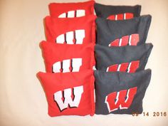 This is for a set of 8 Wisconsin Badgers Embroidered Cornhole bags  They are made from canvas you will receive as pictured  * Please use the section area on the left to help fined want your looking for *  They are all triple stitched by machine 6x6 in and 15.5 -16.0oz clean corn  They will ship priority mail  Let us know if you have any questions! Check out our other bags!  LEGAL DISCLAIMER: This product is handcrafted and made from officially licensed material. However, we are not…
