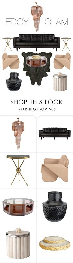 """""""Edgy Glam"""" by catherinevwilson ❤ liked on Polyvore featuring interior, interiors, interior design, home, home decor, interior decorating, Venini and DwellStudio"""