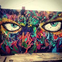 """""""Great wall by @abstrk in Miami  #abstrk #miami #mia #eyes  #blackappleart #urbanart #sprayart #streetart #art"""" Photo taken by @blackappleart on Instagram."""