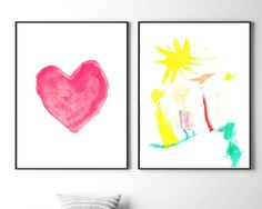 Nursery wall art, printable nursery set of 2 prints, watercolor paintings, heart painting, family painting, nursery handmade wall decor,kids by S4StarSbySiSSy on Etsy https://www.etsy.com/ca/listing/490409839/nursery-wall-art-printable-nursery-set