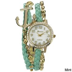 @Overstock.com - Geneva Platinum Women's Rhinestone Accent Anchor Wrap Watch - A contrasting braided faux leather strap and goldtone ball chain creates a long double strand strap for a modern wrap look on this Geneva Platinum watch. A polished case is iced with glittering rhinestones, while a solid anchor emblem completes the look.  http://www.overstock.com/Jewelry-Watches/Geneva-Platinum-Womens-Rhinestone-Accent-Anchor-Wrap-Watch/8306809/product.html?CID=214117 $30.09