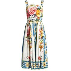Dolce & Gabbana Majolica-print sleeveless cotton-poplin dress ($1,995) ❤ liked on Polyvore featuring dresses, white print, white fitted top, fitted tops, mid calf dresses, white dresses and button dress