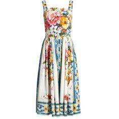 Dolce & Gabbana Majolica-print sleeveless cotton-poplin dress ($1,995) ❤ liked on Polyvore featuring dresses, white print, sleeveless midi dress, print dresses, white sleeveless dress, white dresses and fitted tops