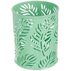 Elite metal cup organizer displays a tropical design with cutouts of palm fronds.  Organizing cup measures 4.25'' W x 5.25'' H. Tropical Bathroom Decor, Brand Assets, Organizing, Organization, Harbor House, Golf Shop, Palm Fronds, Tropical Design, State Of Florida