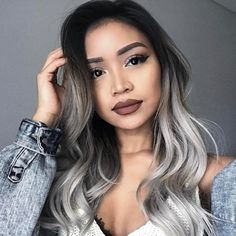 silver hair Shooting all day today with matrix! Im about to do a hair transformation with constancerobbins, can you guess what color were doing Silver Ombre Hair, Best Ombre Hair, Ombre Hair Color, Brunette Color, Balayage Blond, Ombré Hair, Hair Shades, Blonde Shades, Hair Transformation