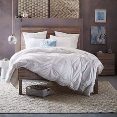 Stria Bed - Cerused White #westelm.  Of couse we love West Elm style.  We'd love to see this bed built with Nantucket Whiteboard from thereclaimedwoodstore.com