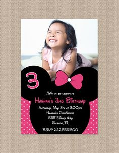 Pink Minnie Mouse Birthday Party Invitations by Honeyprint on Etsy, $15.00