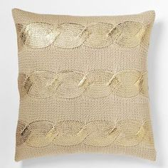 west elm Gilded Cable Pillow Cover - Gold