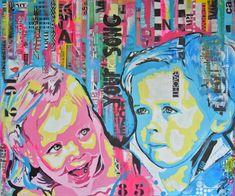 Matz en Merel, ©2014, 100x120cm, acryl en mixed media op doek.  www.janetedens.nl