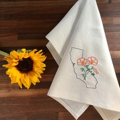 Looking for a Mother's Day gift? This eco-friendly California with poppies embroidered tea towel is on SALE this week!  Ready to ship! Made in my studio north of Lake Tahoe with hemp and organic cotton fabric.