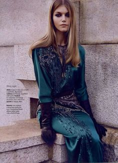 Blumarine Long silk dress with crystal and sequins Dec 14