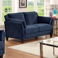 Furniture of America Pierson Contemporary Flannelette Loveseat - 18170261 - Overstock Shopping - Great Deals on Furniture of America Sofas & Loveseats