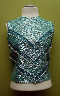Show Stopping 1950's Irridescent Tourquoise Beaded & Sequin Shell Top