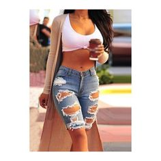Rotita Denim Blue Cutout Design Pocket Decorated Shorts (€26) ❤ liked on Polyvore featuring shorts, blue, pocket shorts, print shorts, zipper pocket shorts, embellished shorts and denim shorts