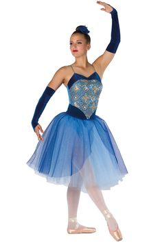 Style# 17352 CROWN JEWEL  French blue spandex leotard with gold/ royal sequin on mesh overlay, royal velvet inserts, attached sequined glitter mesh top skirt and adjustable nude elastic straps. Separate copen tulle tutu. Headpiece and mitts included. SC-XXLA