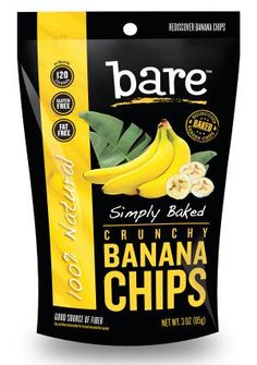 Bare Snacks makes crave-ably crunchy fruit and veggie chips that are baked never fried, gluten free, non GMO, with no preservatives or anything artificial. Chips Packaging, Packaging Snack, Food Packaging Design, Packaging Design Inspiration, Packaging Ideas, Baked Banana Chips, Bare Fruit, Banana Flour, Chips Brands
