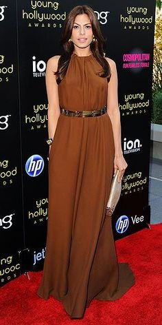 Eva serves up her chocolate Lanvin gown with Gray Gallery jewels at the Young Hollywood Awards in Los Angeles.