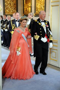 Queen Sonja of Norway attends the wedding ceremony between Crown Princess Victoria of Sweden and Daniel Westling at Stockholm Cathedral on June 19, 2010 in Stockholm, Sweden. Glorious color.