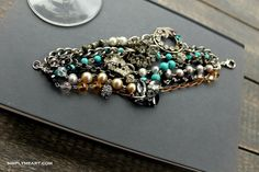 Vintage Rhinestone Turquoise Onyx and Pearl Layered by simplymeart, $80.00