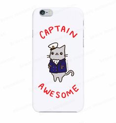Funny iPhone 7 Case Captain Awesome Cute Cat Phone Case Galaxy S7 Case Funny Gift For Him