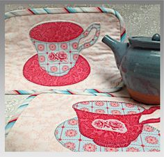 Tea for Two Mug Rug Pattern,PDF pattern available at Stitching Cow website