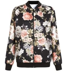 Cameo Rose Floral Print Scuba Bomber Jacket  | New Look